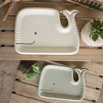 Set of 2 Ceramic Whale Platters - Large White & Small Grey