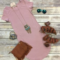 Fun in the Sun Tunic Dress: Dusty Rose