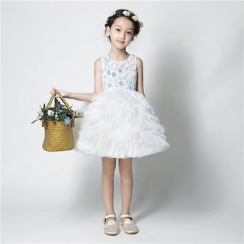 Sweet Ivory/Pink Pleats Tulle Beading Bow Ball Gown Flower Girls Dresses for Wedding Sash First Communion Prom Dresses for Girls