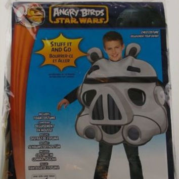 Angry Birds Star Wars Pig Storm Trooper Child Costume Black White Rubies