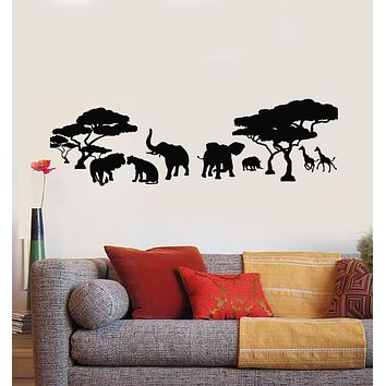 Vinyl Wall Decal Savanna African Continent Lion Family Elephants Giraffes Stickers Mural (g1556)