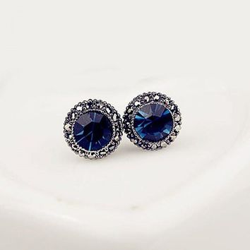 Pair of Chic Faux Sapphire Earrings For Women   Blue