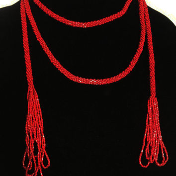 Blood Red Bead Sautoire with Loop Tassels Vintage 1920s Flapper Style Long Deep Crimson Edwardian Necklace Fashion Accessory