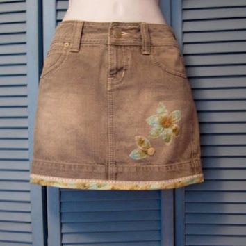 Repurposed Grey Denim Mini Skirt sz 0