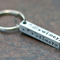 Dr. Who Keychain- Hand Stamped Key Chain - Wibbly Wobbly Key Chain - Timey Wimey Keychain - 4 Sided Bar