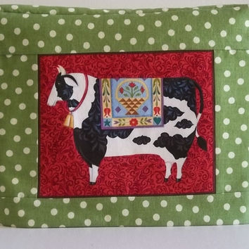 2 Slice Toaster Cover - Green and White Polka Dot with Cow