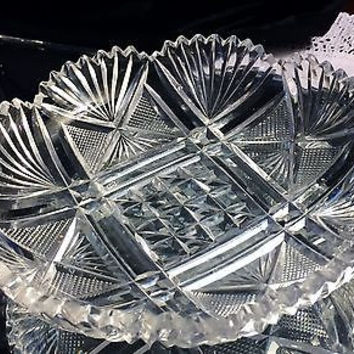 c1895 American Brilliant Cut Crystal Scalloped Compote Bowl Fan Pattern