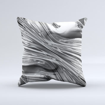 Silver Liquid Mercury  Ink-Fuzed Decorative Throw Pillow