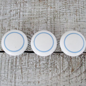 Drawer Knobs 3 Vintage Ceramic Knobs Salvaged Hardware Nautical Knobs Cabinet Knobs Dresser Drawer Knobs White with Blue Circle Knobs