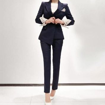 DCCKON3 Womens business suits 2 piece blazer set black stripe slim fit female  uniform ladies pant suits