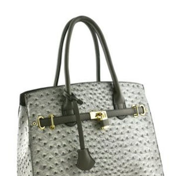 Croc Skin Satchel Bag Faux Leather