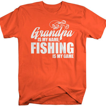 Men's Funny Fishing T-Shirt Grandpa Is My Name Fishing Is My Game Shirt Gift Idea Papa Father's Day