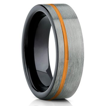 Orange Tungsten Ring - Orange Wedding Band - Gunmetal Ring - Black Tungsten
