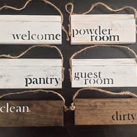 SET of 4- Distressed Vintage Shabby Chic Miniatures | Door Hanger | Rustic Farmhouse Knob Hanger | Door Knob Wood Signs | Mini Wood Sign