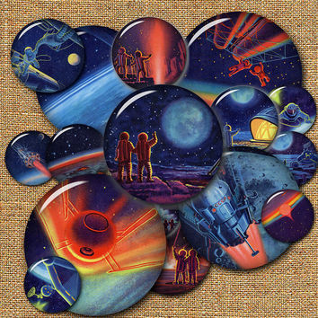 "Cosmos - 1.00"" circles - Digital Collage Sheet SS-001 for Pendants, Crafts"