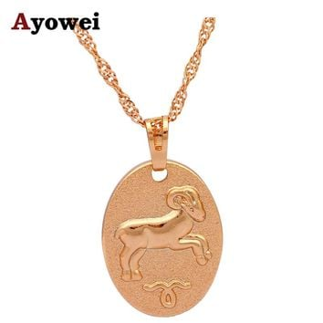 Hot Sell Lovely Aries Design 12 Constellation Necklaces & Pendants for Women gold tone Fashion Jewelry LN547A