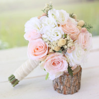 Silk Bridal Bouquet Wildflowers Pink Roses Baby's Breath Rustic Chic Wedding NEW 2014 Design by Morgann Hill Designs