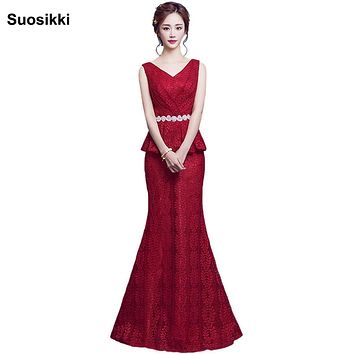 Suosikki Lace Mermaid Prom Dresses Long 2017 EP08838 Fashion Small Train Sexy Trumpet V-Neck Elegant Prom Dresses free shipping