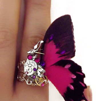 Steampunk ring, butterfly ring, pink ring, silver steampunk, filigree ring, pink boho ring,  OOAK, magic ring, watch gear ring