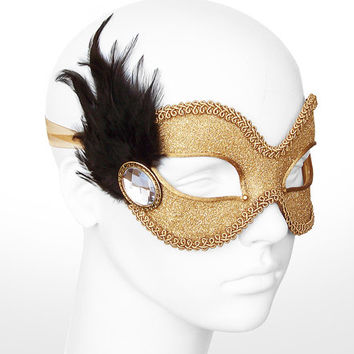 Glitter Gold Masquerade Mask With Black Feathers  -  Shimmering Gold Venetian Style Prom Mask With Large Acrylic Gem
