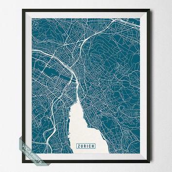 Zurich Print, Switzerland Poster, Zurich Poster, Zurich Map, Switzerland Print, Street Map, Switzerland Map, Wall Art