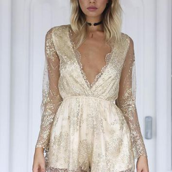 Just Like Heaven Playsuit (Gold) | Xenia Boutique | Women's fashion for Less - Fast Shipping