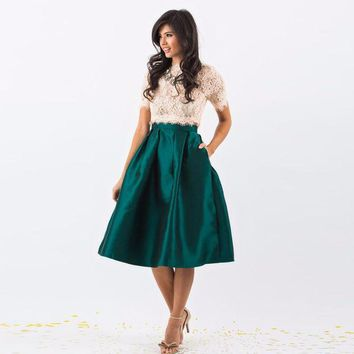 Dark Green Satin Skirt Zipper Waist Knee Length A Line Skirt Pleated Skirts Women