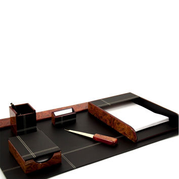 "6 Piece Desk Set, ""Burl Wood"" Leather"