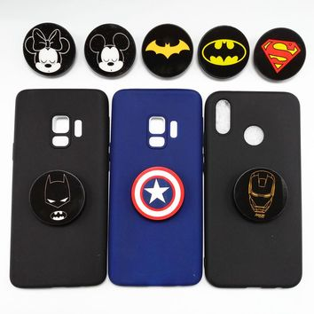 Cartoon Marvel Batman Ironman Phone Case For LG K8 K10 2017 Candy Color Soft Silicone Expanding Grip Stand Holder Back Cove