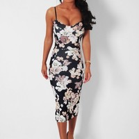 Barcelona Black and Multi Floral Midi Dress | Pink Boutique