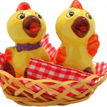 Animal Salt and Pepper Shakers Chickens Basket
