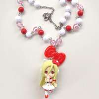Japanese Kawaii Harajuku Style Lovely WITH Hello Kitty Kei's Kittyler Rio and ribbon bow Red, white and pink beaded Necklace