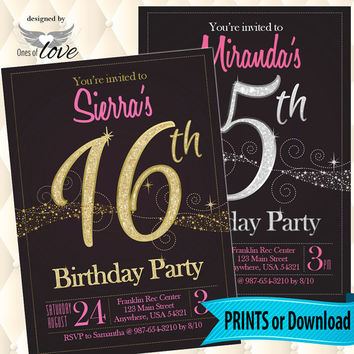 Birthday Invitation | Printed Invitation | Sweet Sixteen | Pink and Gold | Printable | Black | Pink and Silver |  girls party | Glitter