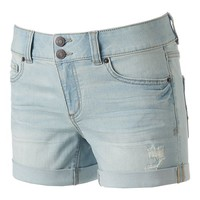 Juniors' Mudd FLX Stretch 2-Button Denim Midi Shorts