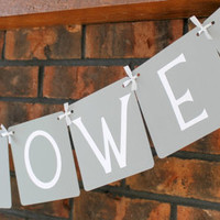 Baby Shower Banner with Heart - Neutral, Gray, Yellow / Baby Banner / Baby Shower Decor / Baby Shower Garland / Sign