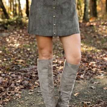 Blank Space Suede Skirt-Olive