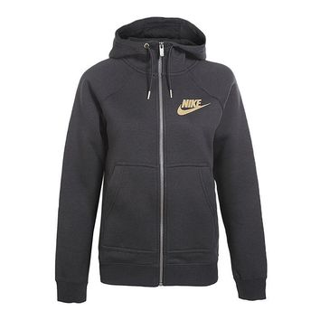 Nike Fashion Women Zip Up Hoodie Jacket Sweater - Gold Logo