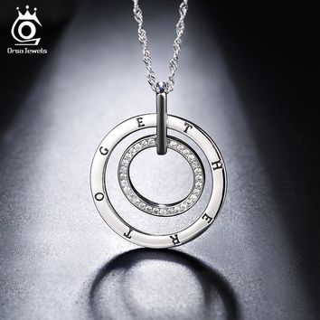ORSA JEWELS Fashion Silver Color Necklace Round Double Circles Pendant Long Chain Necklace with Austrian CZ for Men Women ON127