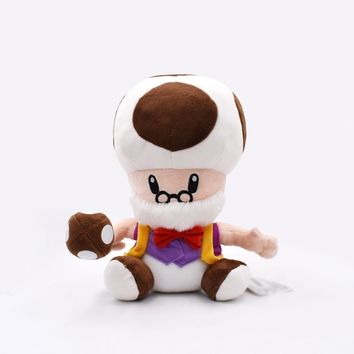 Super Mario party nes switch 25cm  Bros Peluche Toys Toad Mushroom Old Man Soft Stuffed Plush Doll Children Gift   AT_80_8