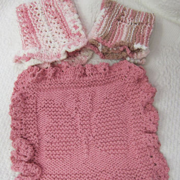 Knit Dishcloth,Washcloth,Dish Rag,Wash Rag Set of three Made with 100% Cotton,Kitchen Decor,Great Gifts,in Browns and Pink Ready to ship