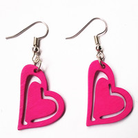 Colorful Carving wood Heart Earrings Handmade Red Green Blue Orange Earrings Laser Cut Jewelry