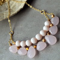 Blush Pink Beaded Necklace, Statement Necklace, Birthday Gift, Pink Beads, Gold Necklace