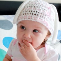 Crochet baby bunny hat, bunny beanie with long ears, white with pink satin ribbon,9-12 months
