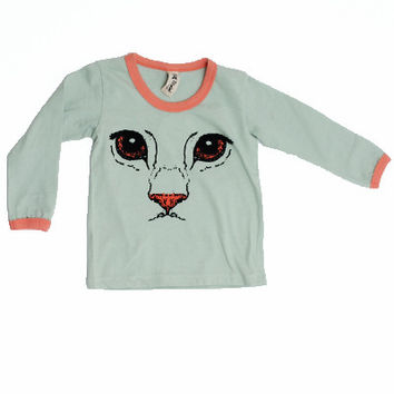 Cat Face Long Sleeve Ringer Tee