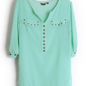 Rivets Chiffon Green Blouse  S001881