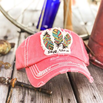 "Triple Feather ""Free Spirit"" Patch Embroidery Cap"