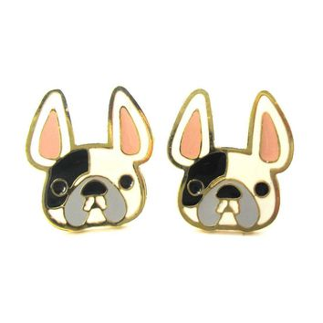 French Bulldog Face Shaped Animal Stud Earrings in White with Black Spot