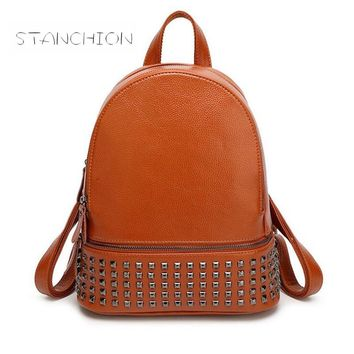 Backpack Faux Leather Mochila Feminina Daily Multifunctional Rucksack Zipper Rivet School Travel Bag Girls Casual Daypacks