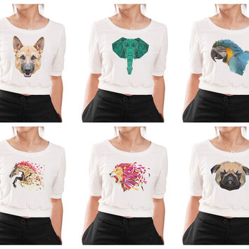 Women Animals in geometric pattern style Printed Croptop WTS_05