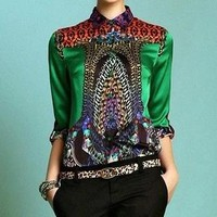 women long-sleeve mulberry silk Basic print silk fashion shirt